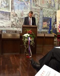 William Moeller, American General Consul in Bavaria speaks at official anniversary ceremonies