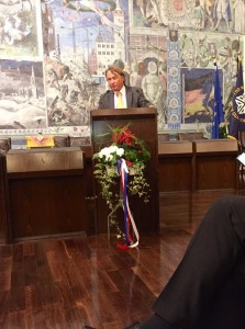 Prof. Thomas Hünig, first ATAD exchange student from Würzburg speaks at official anniversary ceremonies.
