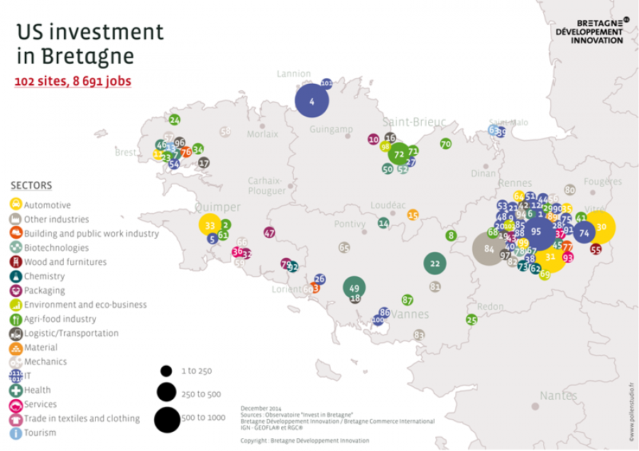 U.S. investment in Bretagne map